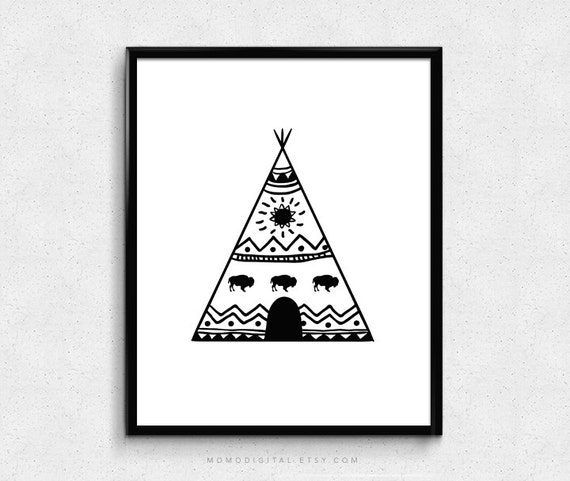 SALE - Teepee Tribal Print Tribal Poster Hand Drawn Tent Doodle Tribal Poster Black White Poster Buffalo Geometric Modern  sc 1 st  Etsy : tent doodle - memphite.com