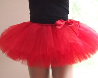 Red Plus Size Tutu - Adult tutu, Color run tutu , Red tutu, Racing tutu, Red tulle skirt, Plus size fashion, Halloween tutu