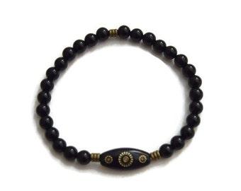Black Onyx Mala Bracelet - Mens Gemstone Bracelet - Mens Stretch Bracelet - Black Onyx Bead bracelet - Mens Mala Bracelet - healing bracelet