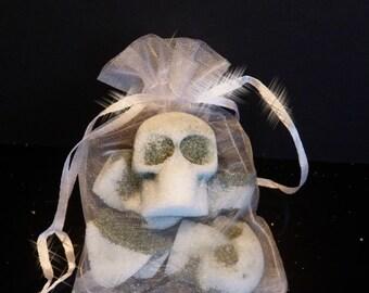 1 Organza Bag of Five Skulls,Organic Skulls Cubes ,Skulls Sugar Cubes