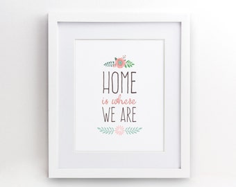 Home is where we are - Gift Her Him Friend Family Birthday Wall Art Poster Print Gallery Wall Decor - 4x6 5x7 8x10 - 0028