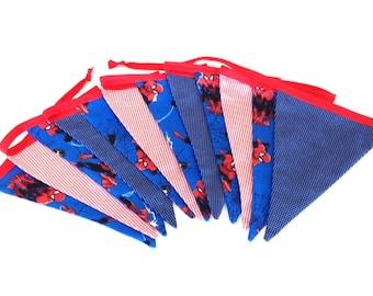 Super hero bunting, boys room decor, Spider-Man bunting flags, fabric bunting, fabric banner,  fabric garland, photo prop