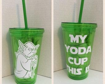 CUSTOM Star Wars Yoda inspired handmade BPA free double walled tumbler CHOOSE Tumbler/Design Color, Glitter Options!