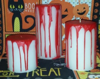 Bloody Pillar Candle Set, Bleeding Candle Set, Halloween Candle Set, Set of three Bloody Pillar Candles