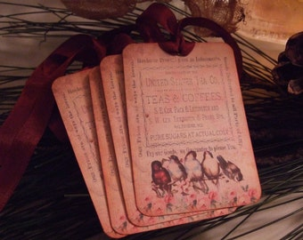 Vintage TEA PARTY Birds Hang Gift Tags