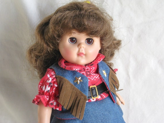 Vintage Ginny Doll Cowgirl Outfit Vogue Dolls Stand Red