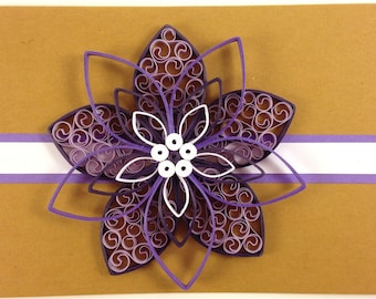 Purple Curly Clematis Greeting Card (Brown Card)