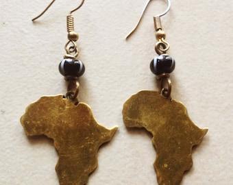 L'Afrique Dangle Brass Earrings!