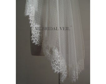 Custom Bridal Veil, Dotted Tulle Lace Veil. Mantilla or with Blusher. Fingertip Bridal Veil, Waltz, Chapel,Cathedral Veil