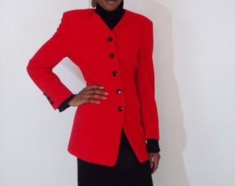 Sale Vintage 1980s  Escada bright red cashmere/wool Blazer Jacket