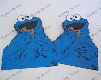 Cookie Monster Die Cut Embellishment for Sesame Street Theme Scrapbooking, Party Supplies or Decor, DIY Crafts