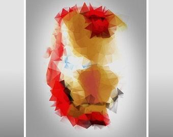 Iron Man - Superhero Polygon Portrait A3 Art Print