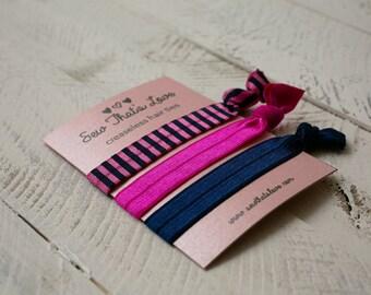 Creaseless Hair Ties - Navy, Hot Pink, Navy/Hot Pink Stripe