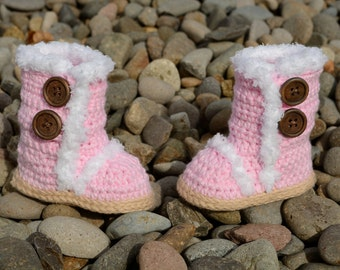 Crochet Baby Boots, Pink Boots, Baby Girl Boots, Crocheted Boots, Booties, Baby Gift, Winter Boots