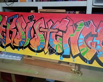 "12"" x 36"" Made-To-Order Hand-drawn Graffiti on Canvas"