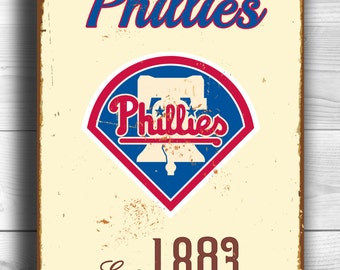Vintage style PHILADELPHIA PHILLIES Sign, Philadelphia Phillies Est.1883 Composite Aluminum Philadelphia Phillies sign WORLDWIDE Shipping