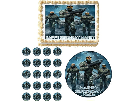 Edible Cake Images Halo : Halo Edible Birthday Party Cake Cupcake Or by ...