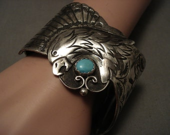 Huge And Heavy Old Navajo Eagle Turquoise Silver Bracelet