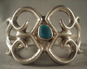 Earlier 1900's Vintage Navajo Turquoise Silver Bracelet Old