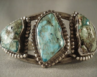 Very Old Navajo Turquoise Silver Bracelet