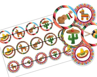 Mexican fiesta bottlecap image ready to print bottle cap