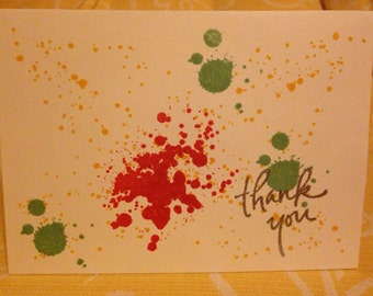 Splattered Ink Thank You Card