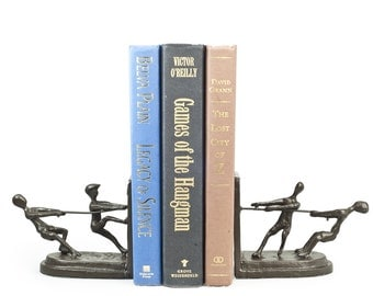 Children Playing Tug of War Metal Bookend Set Contemporary Style Home Decor Danya B™ ZI11039