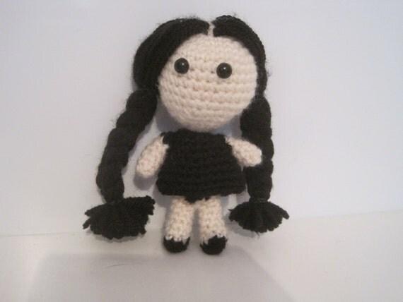 Handmade Crochet Amigurumi Wednesday Addams Doll Addams
