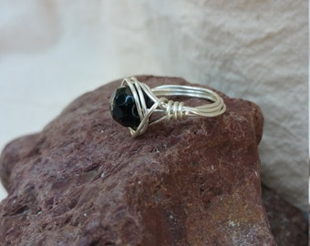 Black Faceted Onyx and Silver Plated Wire Wrapped Ring.  Size 4 1/2