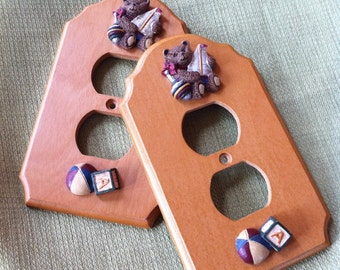 Vintage Wood Duplex Outlet Covers - Teddy Bears and Toys Decorated - Two (2) Electrical Outlet Plates - Perfect for a Childs Room