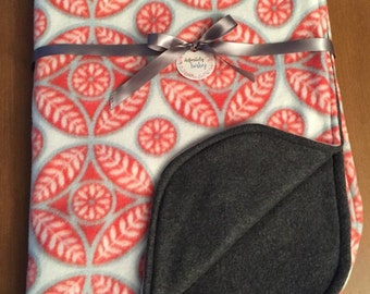 Pink Medallion and Gray Fleece Baby/Toddler Blanket