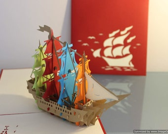 MULTICOLOURED SHIP Pop Up Card