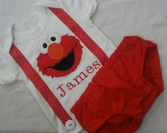 Personalized Elmo shirt/onsies with suspenders and matching diaper cover