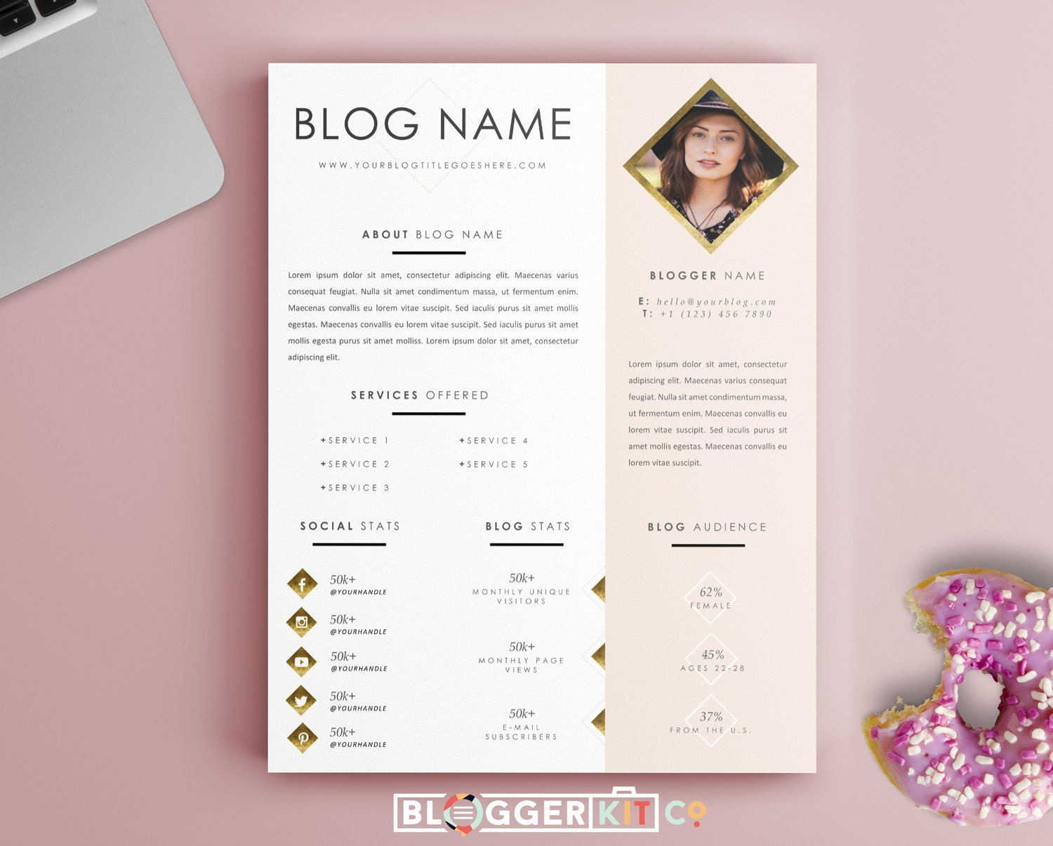 creative resume one page media kit template press kit template electronic press kit instant digital ms word life is golden