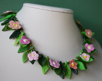 Wildflower Polymer Clay Necklace Pink Seaside Centaury Statement Piece Nature Inspired and Magical