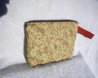 Wheat Pattern Fabric Zippered Pouch