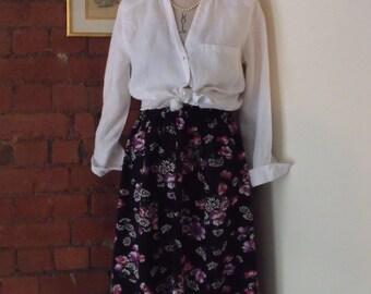 90's Vintage Black Floral Gathered Skirt