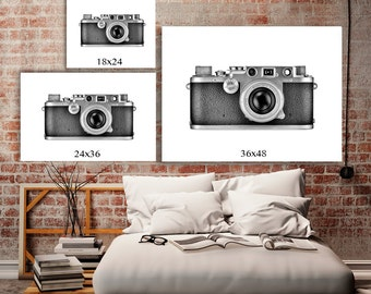 leica camera black and white art home decor wall art urban chic - Large Home Decor