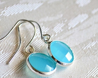Aqua Blue Bridesmaid Earrings Crystal Bridesmaid jewelry Light blue Wedding jewelry earrings Aqua blue drop wedding jewelry Bridesmaid gift