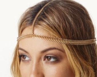 Boho Heavy Finish Fishbone Head Chain Hairpiece
