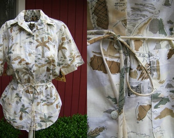 Vintage Cherokee Shirt | Short Sleeve Palm Tree Blouse | Deadstock | Medium | Made in USA