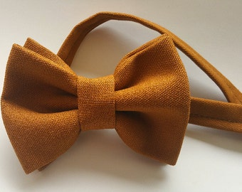 Gold bow tie. Brown bow tie. neck tie. Ginger bow tie