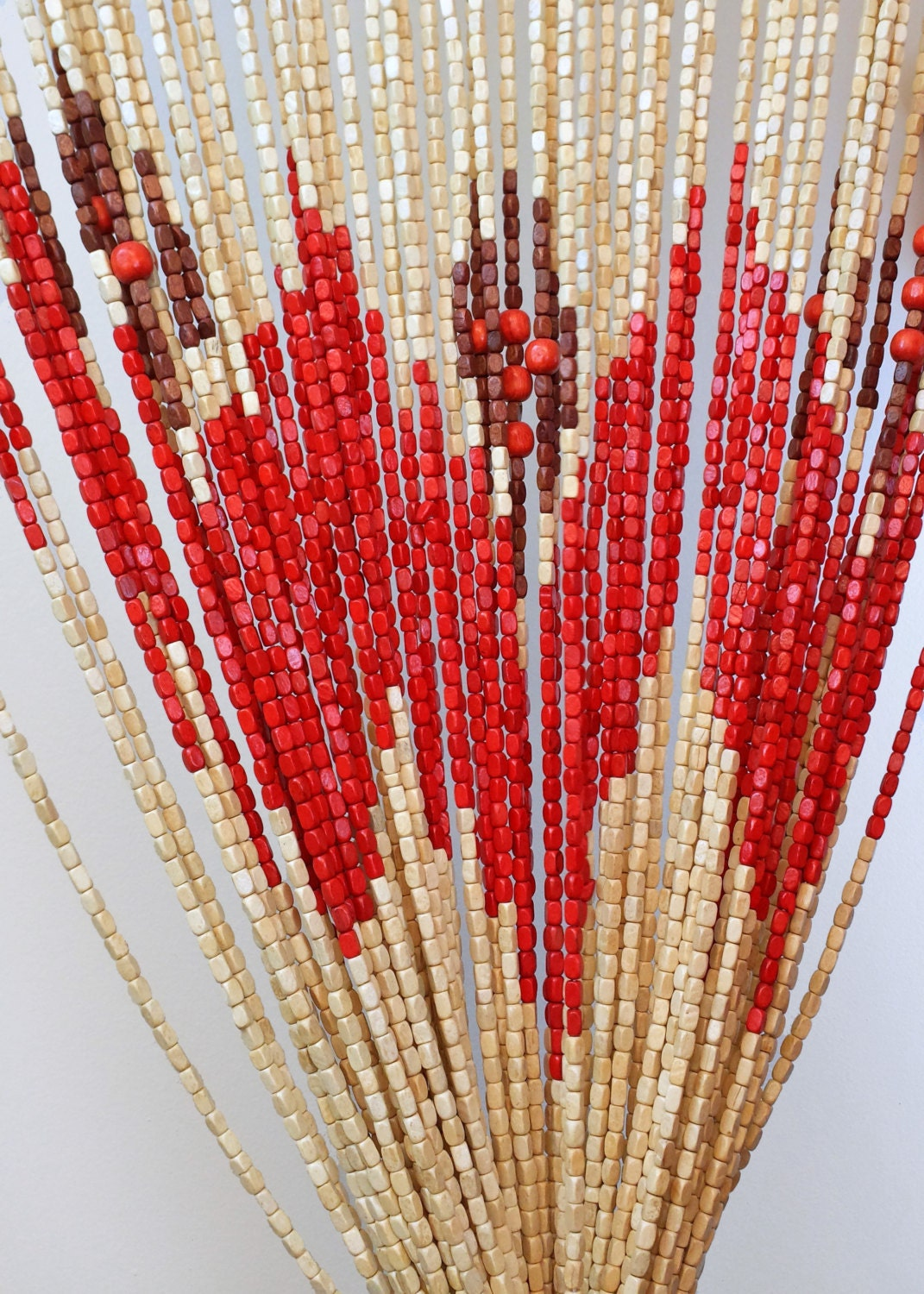 made wood beaded curtain doorway by stringbeaded on etsy