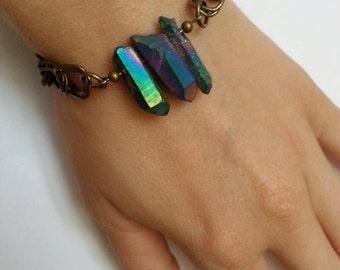 Bracelet quartz arrowheads brut/Raw quartz points/brass/brass/Rainbow/rainbow/large mesh/chunky chain/statement bracelet/OOAK