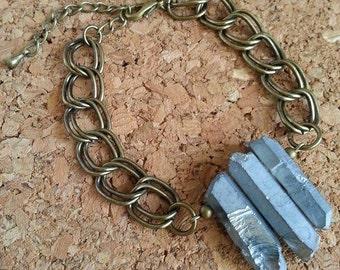 Bracelet quartz arrowheads brut/Raw quartz points/brass/brass/silver/silver toned/large mesh/chunky chain/statement bracelet/OOAK