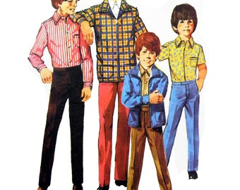 1980 Simplicity 9595 Boys' Jacket, Shirts with Sleeve Length Variations and Pants Uncut, Factory Folded Sewing Pattern Size 12 Chest 76 cm