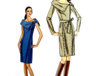 2007 Very Easy Vogue 8408 Misses' Princess Seam Dress with Oversized Collar Uncut, Factory Folded, OOP, Sewing Pattern Various Sizes
