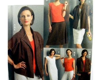 2008 Vogue FIve Easy Pieces 8505 Misses' Jacket, Top, Dress, Skirt and Pants Uncut, Factory Folded, OOP, Sewing Pattern Size XS-MED