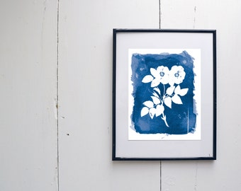 Rosa Watercolor Print - SMc. Originals, watercolor painting, rustic, modern, original artwork, floral series, floral, organic, navy