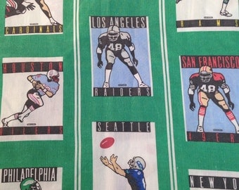 Vintage 1989 NFL teams flat twin sheet and pillow case